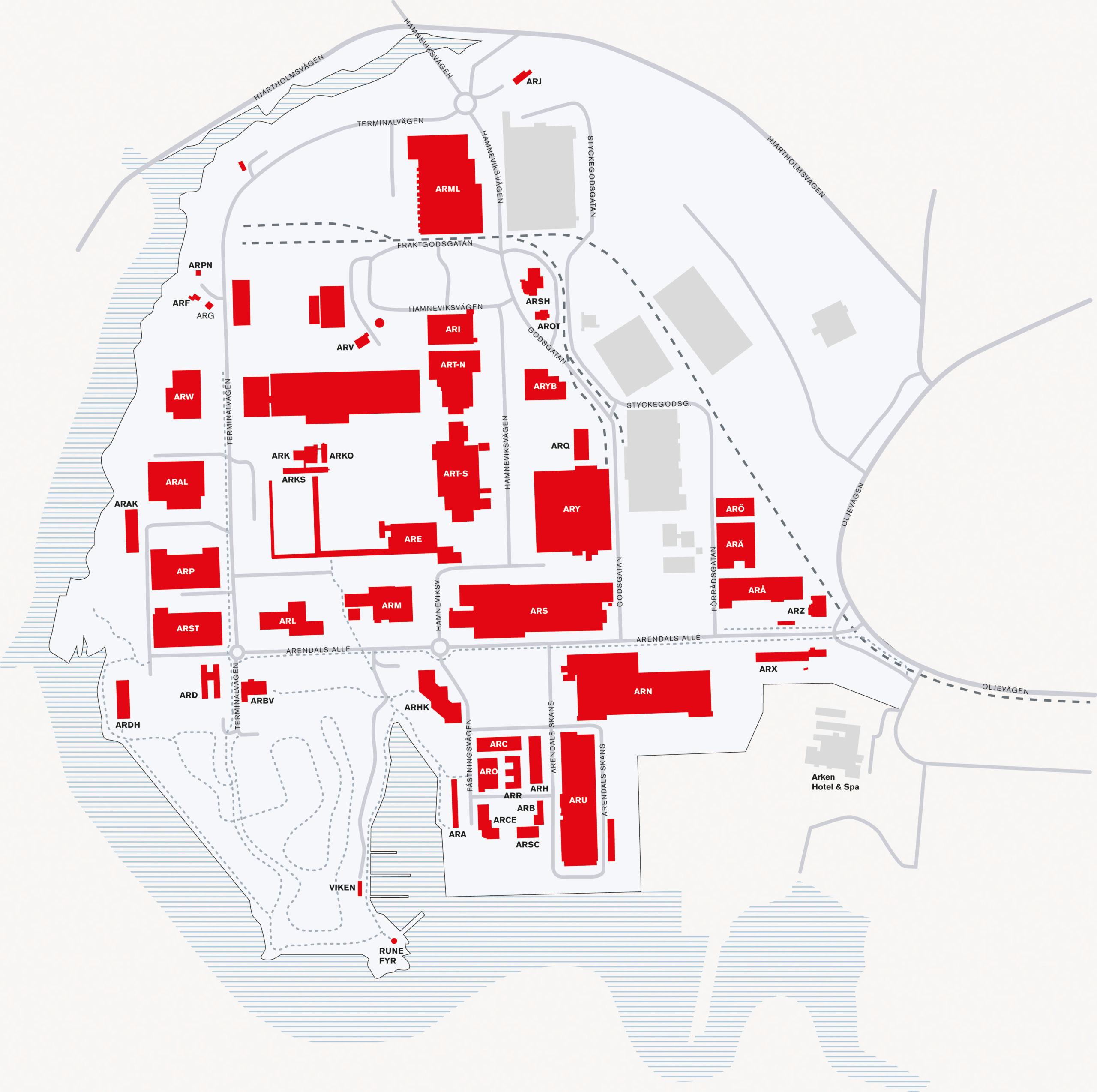 Områdeskarta Arendal